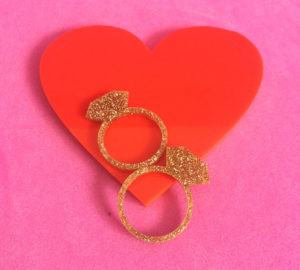 DIAMOND; Glitter Serviette Rings set of two | Perspex Artwork | Home Decor | Kokomo Design